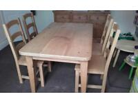 Dining table and charis