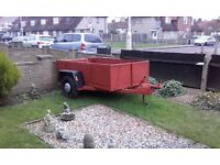 "Car trailer 7ft long x 4ft wide 17"" deep good condition heavy duty"