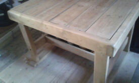 a solid rustic prep / work table with undershelf handmade desk reclaimed timber