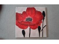 Red Poppy Louise Lipman Decorative Ceramic Picture Tile