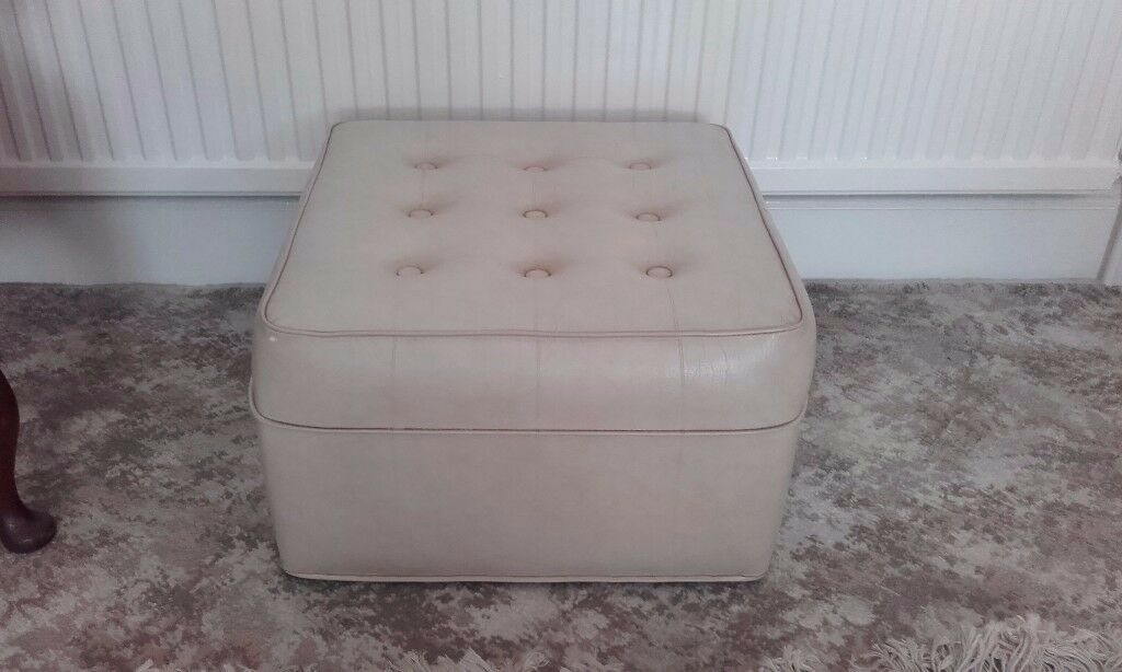 Vintage cream leather effect pouffe