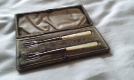 Two Silver Pickle Forks in Box. Birmingham 1900