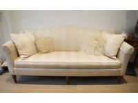 2 x Ethan Allen Designer 7ft Sofa's Stunning Pale Gold/Cream stripe Beautiful Classsic look Bargain!