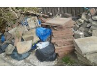 PATIO SLABS GONE! BUT REST STILL HERE TO TAKE! pavement slabs bricks rubble