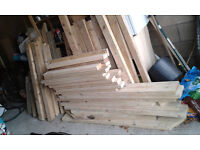 Builders' timber offcuts, various, with approximate sizes (in inches)