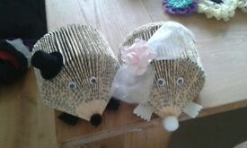 Bride and groom hedgehogs, made from a book