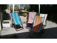 4 vintage deckchairs