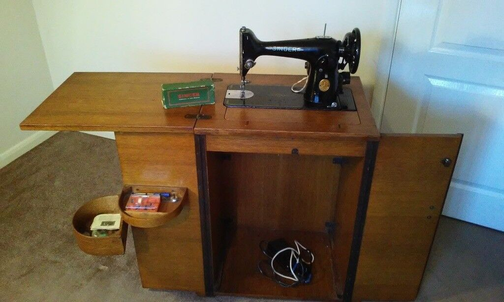 Vintage Singer Sewing Machine In Cabinet With Electric Conversion Custom Singer Sewing Machine 1950 In Cabinet