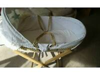 Moses basket, bedding, mattress and stand