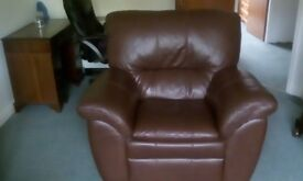 "BROWN LEATHER ARMCHAIR,""IMMACULATE CONDITION"""