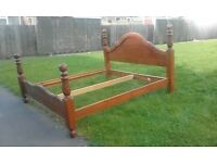 Queen size solid pine bed
