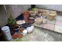 Job lot of garden ornaments pots