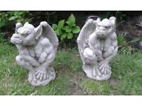 GREAT PAIR OF GARGOYLE GARDEN ORNAMENTS FOR SALE. COULD DELIVER.