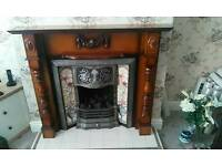 Fire surround victorian style with real flame cast iron gas fire