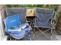 Camping chairs and gas cooker