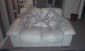 2&3 cream leather sofa set