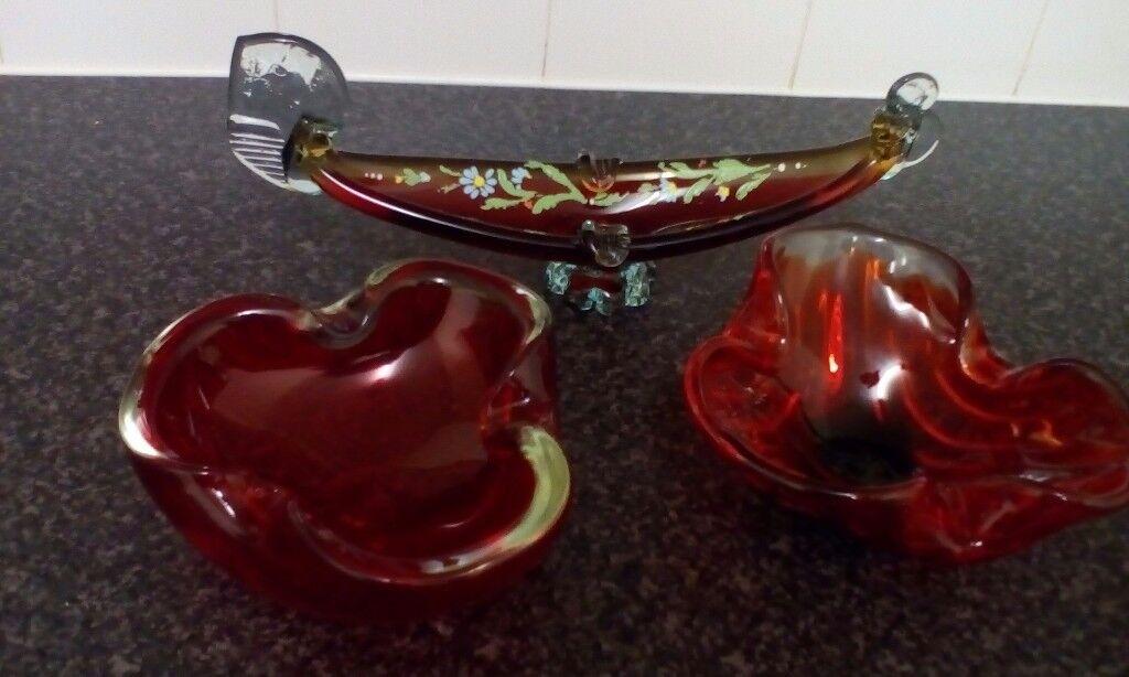 3 piece Red Glassware