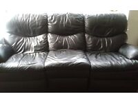 Amazing value black leather recliner sofa