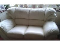 Cream Leather Suite, matching Footstool