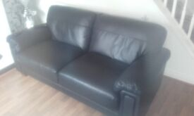 3 &2 seater sofa brown leather (like new )