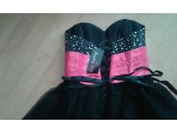 SZ 8 BLACK PROM DRESS WITH PINK EMBELLISHED BODICE