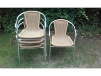 4 Wicker & Aluminium Chairs