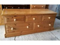 Solid Pine 5 Drawer Storage Unit Chest TV with dovetail joints