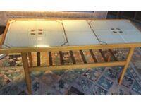 Good Quality Retro / Vintage Very Sleek Tiled Teak Coffee Table H18cm/46cmD16.5cm/42cmL40cm/102cm