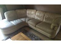 Used cream leather sofa and storage footstool