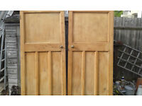 2 Edwardian internal wooden doors with fittings