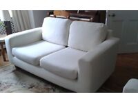 two seater sofa, two armchairs and one stool , ecru, removable covers with spares