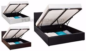 OTTOMAN STORAGE GAS LIFT UP DOUBLE LEATHER BED -IMMEDIATE/EXPRESS -SAME-DAY-DELIVERY