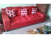 Red Leather Sofa and Matching Footstool