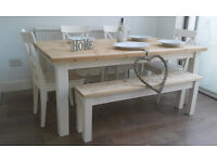 STRIKING, CONTEMPORARY LARGE SOLID PINE DINING TABLE AND CHAIRS + BENCH NEWLY UPCYCLED SHABBY CHIC