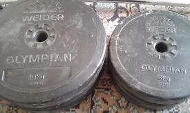 32kg worth of weights with barbell