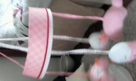 Baby cot mobile in pink
