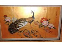 Chinese Screen ,hand painted with peacocks on gold background