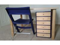birch wood ikea desk , drawer unit and foldable chair