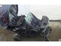 Graco double pram, used but very good condition with hoods, cosytoes and raincover
