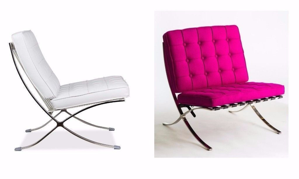 BARCELONA DESIGNER CLASSIC LEATHER CHAIR WHITE OR PURPLE Can Deliver Viewing Collection welcome