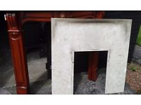 Marble hearth and wooden Mantlepiece
