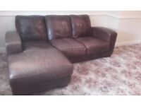 Leather corner sofa, brown.