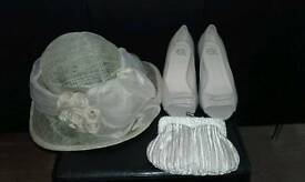 Neutral/champagne bag, hat & size 7 shoes