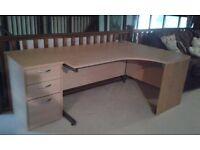 Corner office desk and three drawer cabinet