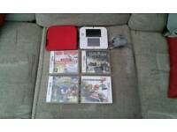 Nintendo 2DS Red/White console + case & games