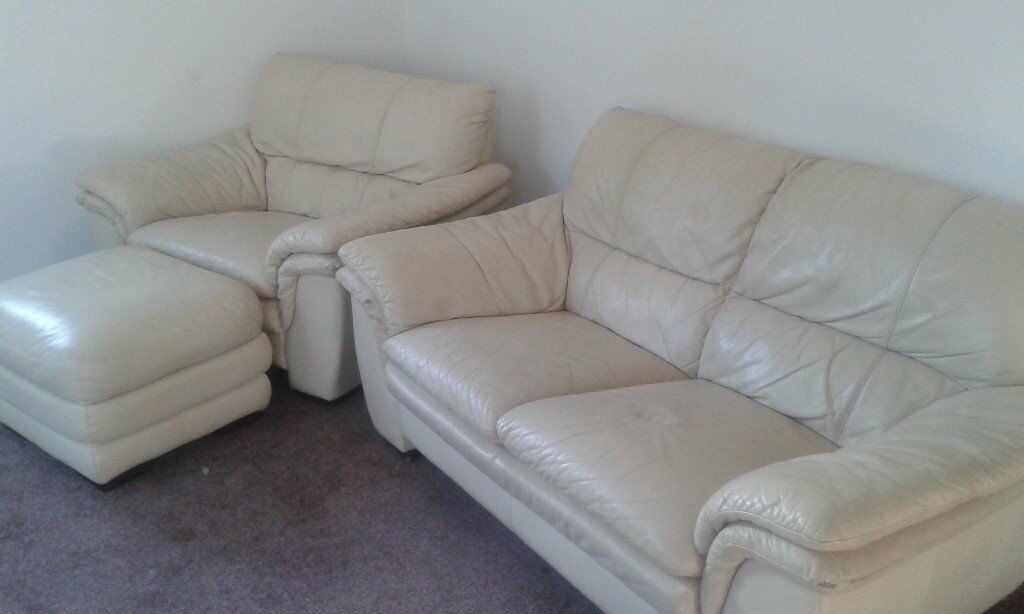Cream Leather 2 Seater settee one seater chair and puffyin Morpeth, NorthumberlandGumtree - Cream Leather 2 Seater settee one seater chair and puffy. Some wear and tear marks on the 2 seater settee. Very comfortable. Collection Only