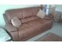 Brown saddle leather 3 seater sofa, electric recliner armchair, storage foot stool