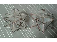 Two glass star lampshades