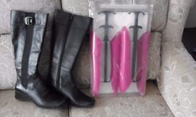 Ladies Black leather Madison Rose boots ,size 5 from Clarks .Never been worn with boot shapers