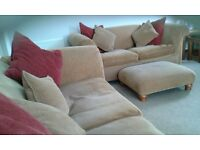 John Lewis 3 seater and 2 seater sofas, cushions & footstool. Very Good condition. Very comfy £150